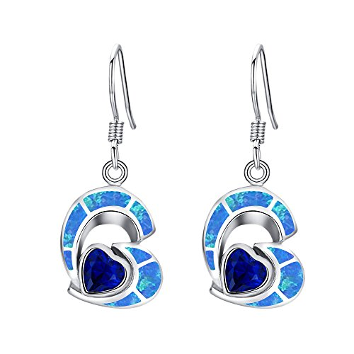 Sinlifu Silver Plated Ring Love Heart Sapphire Created Opal Earrings Pendant Necklace Jewelry (Earrings: Blue Opal & Sapphire)