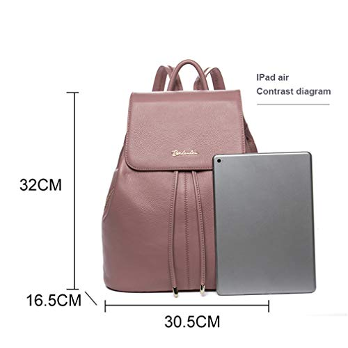 Cow For Drawstring Green Female Backpack Girls Women Light Bags Fashion Backpack Leather Travel Teenagers School TdqZSS4