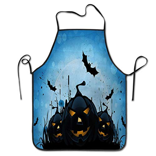 Chef Cooking Cook Apron Bib 2019 Halloween Scary Pumpkins in Grass with Bats Full Moon Traditional CompositionFor cooking, baking, gardening, multicolor Black Yellow Sky Blue -
