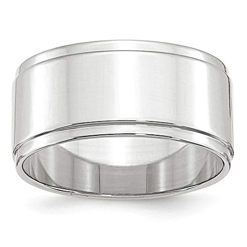 (Roy Rose Jewelry 14K White Gold 10mm Flat with Step Edge Wedding Band Ring Size 8)
