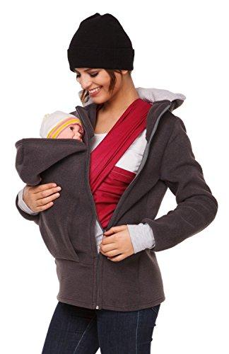 Happy Mama. Para mujer sudadera capucha top portador de bebé forro polar. 032p Grafito