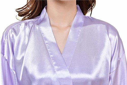 Feoya Pyjamas robe Satin Long Peignoir avec Poches pour Homme Femme - Violet pâle