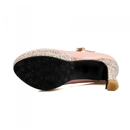 KHSKX-Una Nueva Primavera Zapatos Y Hebilla De Cuero Zapatos De Tacon Alto Superficie Impermeable Luz De TaiwánTreinta Y NuevePink