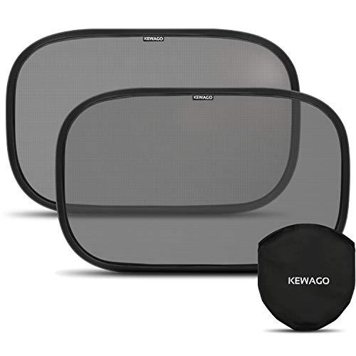 KEWAGO – Set van 2 zonneschermen auto baby, zelfklevend, uv-bescherming 55+. Zijraam zonwering auto kinderen. Auto…