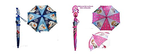 Disney Frozen Toddler 3D Handle Umbrella Set - 1 x Olaf and 1 x Elsa / Anna