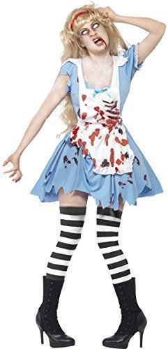 Ladies Zombie Alice in Wonderland Halloween Twisted Fairy Tale Malice Fancy Dress Costume Outfit 8-18 (UK16-8) -