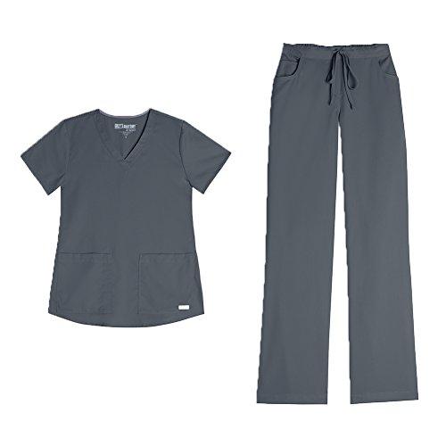 Grey's Anatomy Women's 3 Pocket V-Neck Top 71166 & Drawstring Pant 4232 Scrub Set (Granite - Small) by Grey's Anatomy