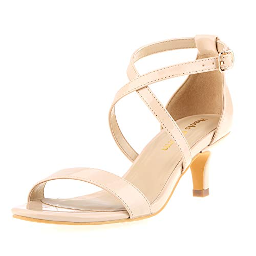 (Women's Stiletto Open Toe Cross Strappy Heeled Sandals Ankle Strap High Heels 1.97 Inches Dress Party Wedding Work Daily Shoes Nude Patent Leather Size 6.5)