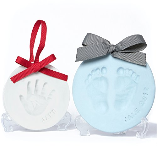 Baby Leon Footprint Ornament Kit | White + Blue Clay Molds & Paint Set | Best Baby Shower Gift for Newborn Girls & Boys | New Mom Gift Registry | Handprint & Pet Paw Print Keepsake | Safe Air Dry Clay