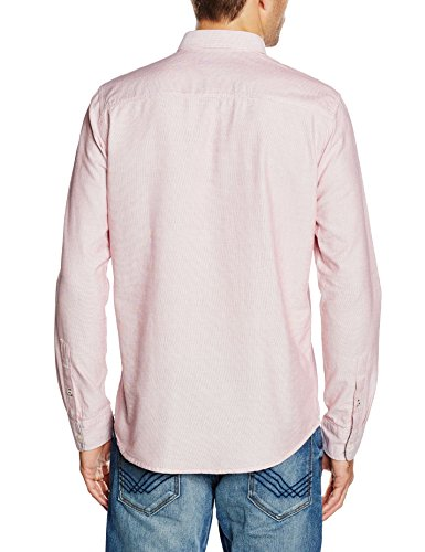 Tom Tailor Hemd Ray Two Colour Structure Shirt Button-Down, Camisa para hombre Rosado (grunge red)