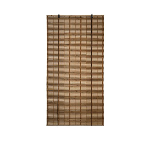ALEKO BBL36X64BR Light Brown Bamboo Midollino Wooden Roll Up Blinds Light Filtering - Shade Wooden