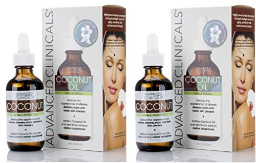 Advanced Clinicals Coconut Oil for Skin. Repair Coconut Oil for Face, Body and Hair. For Chronic Dryness, Scars, Stretch Marks and Harsh Skin Creases. (Two - 1.75oz)