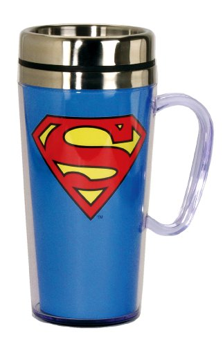 DC Comics Superman Logo Insulated Travel Mug, Blue