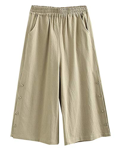 SCOFEEL Women's Linen Cotton Wide Leg Palazzo Pants Cropped Elastic Waist Side Button Trousers with Pocket Khaki