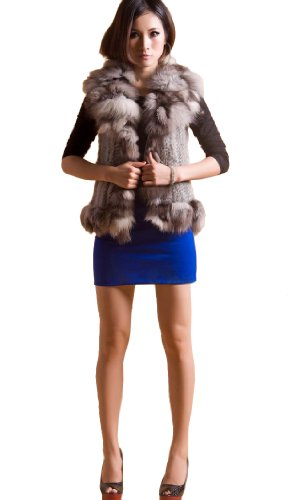 Queenshiny Women's 100% Knitted Rabbit Fur Vest with Silver Fox Collar-Gray-S(4-6)