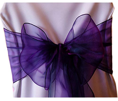 (VDS - 125 PCS Elegant Organza Wedding Chair Sashes/Bows for Wedding Party Banquet Decor - Ribbon Tie Back Sash Bow - Cadbury Purple)