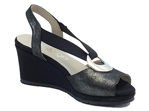 Nero Femme Glitter Pour Sandales Noir Cinzia Soft 51551cs qHRAAp