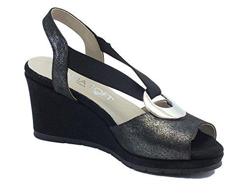 Pour 51551cs Cinzia Femme Sandales Nero Glitter Noir Soft n7wzBTxwg