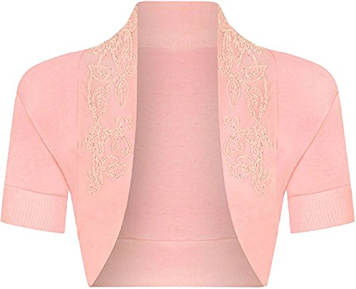 Shrug Cardigan Crop Womens Manches Bolero Fashions L Courtes Islander Ouvert Perl Dames Pink Baby Fancy M Top S wFIYP5Fq