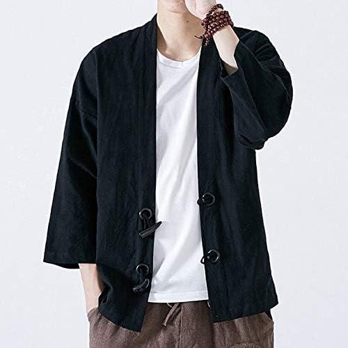 QBQCBB Men Japanese Yukata Casual Coat Kimono Outwear Cotton Loose 3//4 Sleeve Top