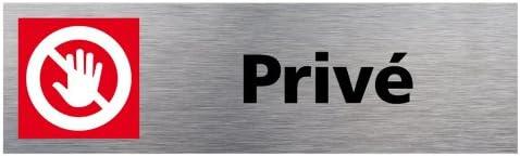 Pictogramme Noir Sticker de Porte Priv/é Aspect Aluminium Bross/é Dimensions 170 x 50 mm