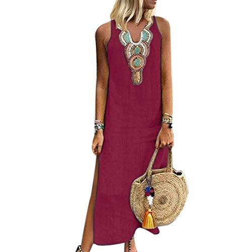 memorytime Women Dresses, Paisley Print V Neck Sleeveless Summer Loose Split Linen Kaftan Maxi Dress Wine Red M