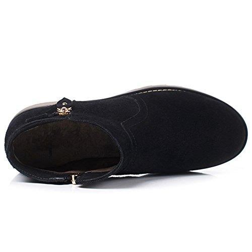 Women's Low Heel Boots Black Leather Nubuck DecoStain d8w4xqFF