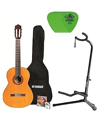Yamaha C40 Nylon String Classic Guitar Bundle with Padded Bag, Digital Tuner, Stand ,Picks and Starter DVD