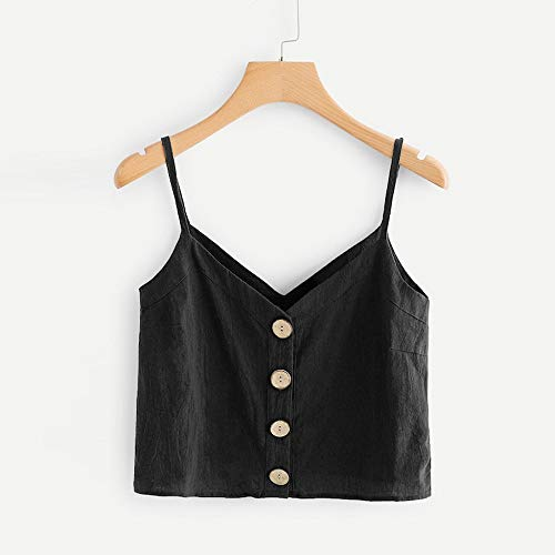 Luweki Womens V Neck Tank Tops Loose Fit Casual Shirts Summer Tops Vest Blouses Black by Luweki (Image #1)