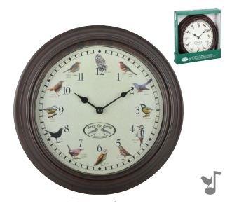 Esschert Design FB416 Bird Sounds Clock, Dark Brown (Bird Chime Clock)