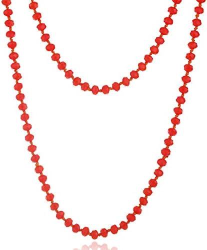 YUDUODUO - Collar con cuentas de cristal anudado de varias capas para mujer