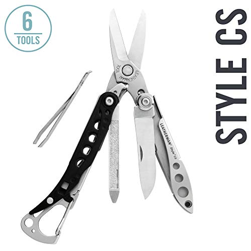 (LEATHERMAN - Style CS Keychain Multitool with Spring-Action Scissors and Grooming Tools, Stainless Steel)