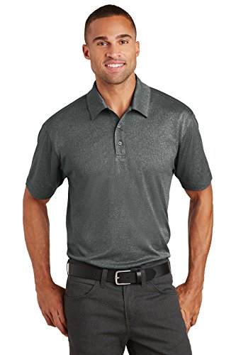 Port Authority Trace Heather Polo. K576 Charcoal Heather - Grey Polo Matte