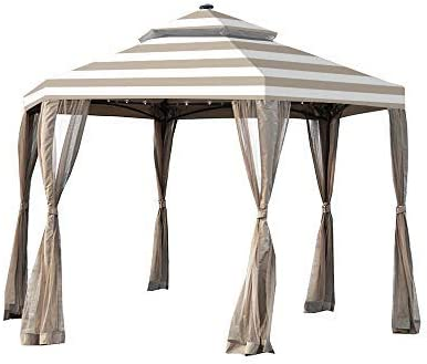 Garden Winds Replacement Canopy for The Hampton Bay Solar Hexagon Gazebo – Standard 350 – Cabana Beige