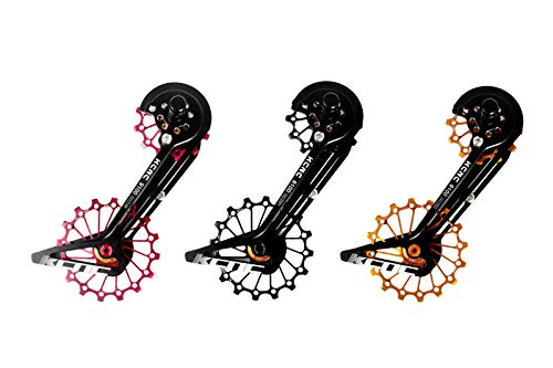 KCNC Road Cyclocross Bicycle Bike OSPW Oversized Derailleur Pulley Wheel System for Shimano R9100 R8000 use 12t top+16t Bottom Pulley in Black/Red/Gold Colors (Gold)