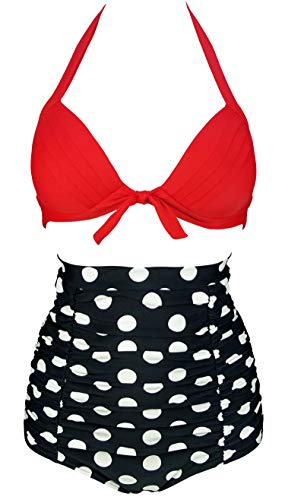 COCOSHIP Fiery Red & White Black Big Polka Dot Tie Front Top Halter High Waist Bikini Set Ruched Bathing Cruise Swimwear L