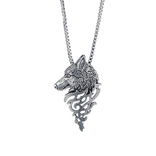 Jade Shape Diamond (Botrong® Wolf Head Shape Pendant Necklace Fashion Jewelry Gift (B))