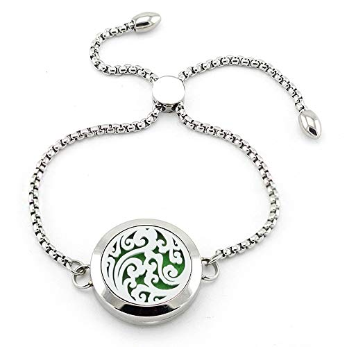 AZORA Lucky Cloud Essential Oil Diffuser Bracelet Stainless Steel Locket Charm Slider Chain Bracelets with 8 Refill Pads Jewelry Gift
