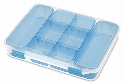 Sterilite Divided Case Storage Container-13.375u0022X10.75u0022X2.5u0022 Clear