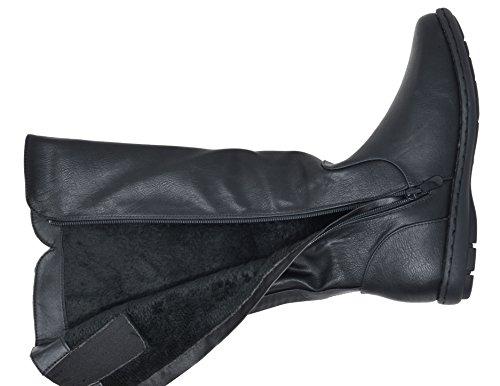 Dream Paare Frauen Faux Pelz gefüttert Kniehohe Winter Stiefel (breit-Kalb erhältlich) Rush-schwarz