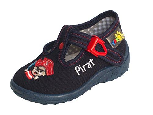 Yaro - Zapatillas de estar por casa de algodón para niño Dunkelblau/Pirat