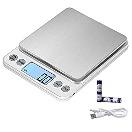 KUBEI Upgraded Larger Size Digital Food Scale Weight Grams and OZ, 5kg/0.1g Kitchen Scale for Cooking Baking, High…