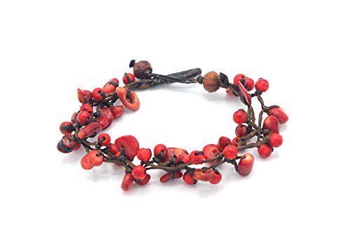 Coral Red Bracelet Chip (MGD, Red Coral Round and Chip Bead Bracelet, 19 CM w/ 1 Inch Extend 3-Strand Bracelet, Beautiful Bracelet, Girl Handmade Jewelry, JB-0297B)