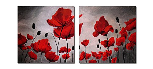 Framed Poppy Print Set - Purple Verbena Art Black/Red Poppy Flower Pictures Painting Canvas Prints Walls Decor Art Pictures Modern Painting Artwork for Bedroom Living Room Home Decoration,Framed Large Size 20