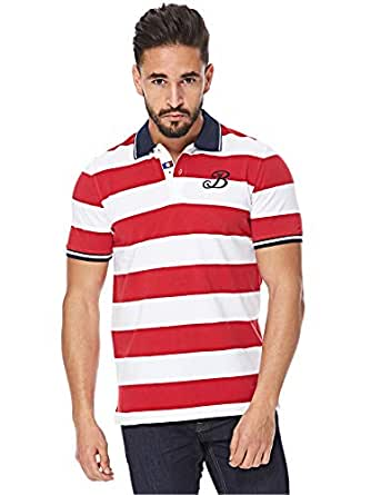 Balmain Red & White V Neck Polo For Men