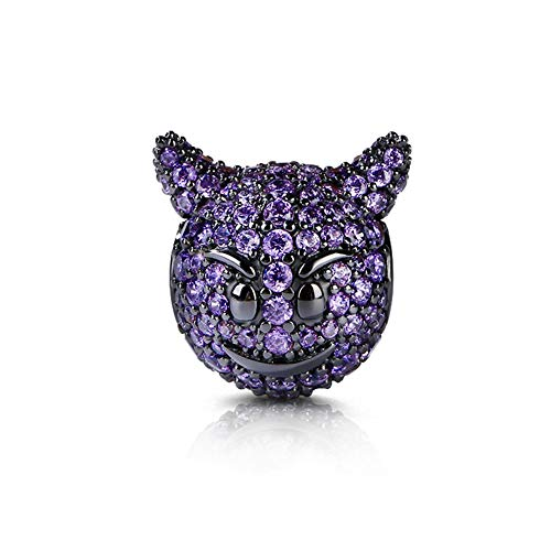 GNOCE Goblin Charms Sterling Silver Smiling Face with Horns Bead Charms Black Plated with Purple Cubic Zirconia Fit Bracelet/Necklace Jewelry Gift for Women Mens]()