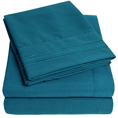 1500 Supreme Collection Extra Soft Queen Sheets Set, Teal - Luxury Bed Sheets Set with Deep Pocket Wrinkle Free Hypoallergenic Bedding, Over 40 Colors, Queen Size, Teal (Teal Sheet)