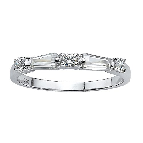 Seta Jewelry Round and Baguette White Cubic Zirconia Rhodium-Plated .925 Sterling Silver Ring
