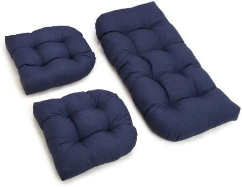 Blazing Needles Outdoor Spun Poly All Weather UV Resistant Settee Group Cushions