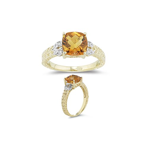 0.04 Ct Diamond & 2.00 Cts AAA Citrine Ring in 14K Yellow Gold-7.0 ()